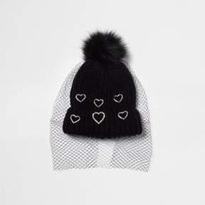River Island Womens Black heart embellished net veil bobble hat