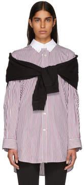 Balenciaga Red and White Stripe Combi Collar Shirt