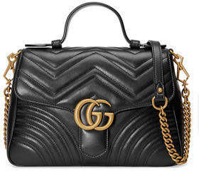 Gucci GG Marmont Small Chevron Quilted Top-Handle Bag with Chain Strap - WHITE - STYLE