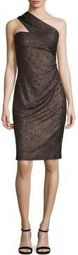 David Meister Women's Metallic One-Shoulder Sheath Dress