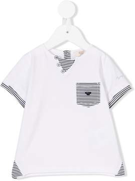 Emporio Armani Kids striped pocket tee