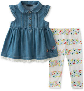 Tommy Hilfiger 2-Pc. Denim Tunic & Floral-Print Leggings Set, Baby Girls