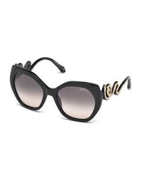 Roberto Cavalli Geometric Snake Sunglasses, Black