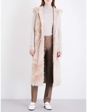 Drome Ladies Smooth Pink Hooded Reversible Shearling And Suede Gilet
