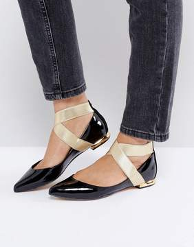 Ted Baker Flat Point Ballerina with Gold Ankle Strap