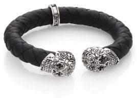 King Baby Studio Leather and Sterling Silver Skull Bracelet