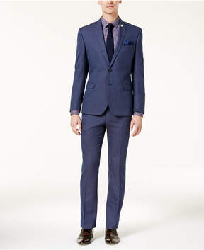 Nick Graham Men's Slim-Fit Stretch Bright Blue Pin-Dot Suit