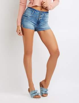 Charlotte Russe Refuge Hi-Waist Shortie Denim Shorts