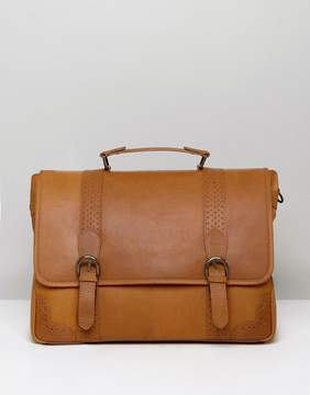 Asos Satchel In Tan Leather With Brogue Detailing