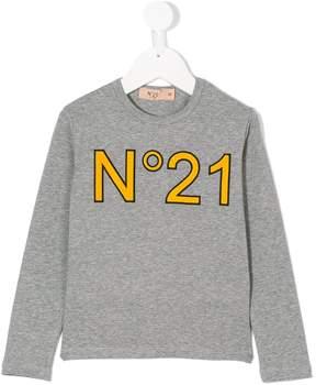 No.21 Kids logo longsleeved T-shirt
