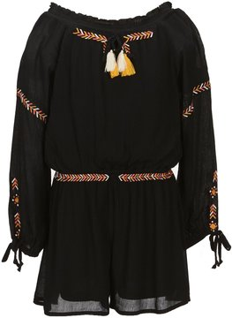 Truly Me Big Girls 7-16 Long Sleeve Embroidered Romper