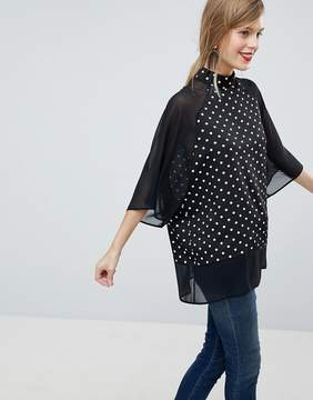 Asos Sheer and Solid Oversize Tee in Polka Dot