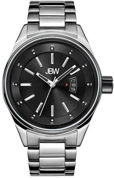 JBW Mens Silvertone And Black Diamond Accent Bracelet Watch