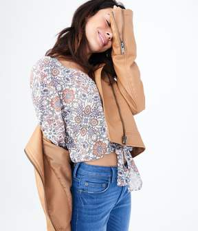 Aeropostale Long Bell Sleeve Floral Button-Up Top