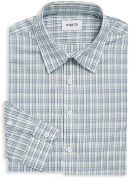 Hyden Yoo Men's Plaid Cotton Dress Shirt
