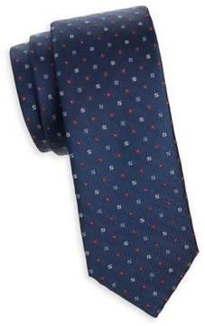 Black & Brown Black Brown Embroidered Floral Silk Tie
