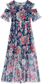 Bonnie Jean Big Girls Plus Floral-Print Cold Shoulder Maxi Dress