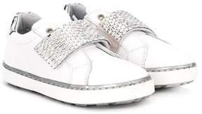 Stuart Weitzman metallic strap sneakers