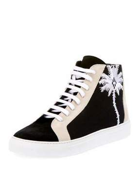 Marcelo Burlon County of Milan Men's Coralie Palm Tree Suede High-Top Sneakers