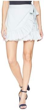 Blank NYC Hi Rise Ruffle Mini Skirt in Cloud Cover Women's Skirt