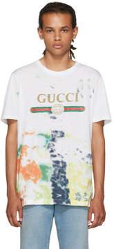 Gucci White Tie-Dye Logo T-Shirt