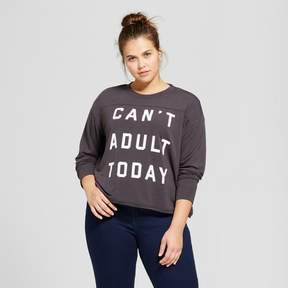 Fifth Sun Women's Plus Size Can't Adult Today Graphic Pullover Sweatshirt Black