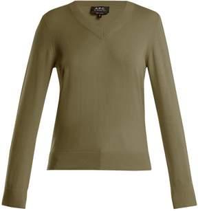 A.P.C. Edina V-neck cotton and cashmere-blend sweater