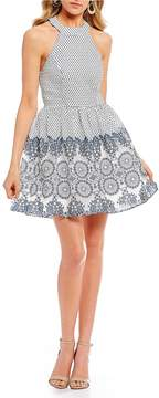 B. Darlin Cotton Burn-Out Medallion Fit-And-Flare Dress