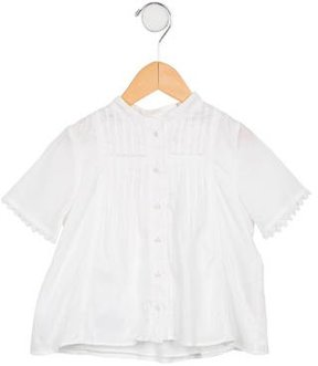 Chloé Girls Lace-Trimmed Short Sleeve Top