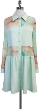 Christian Siriano Mint Green & Coral Print Silk Dress