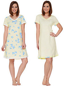Carole Hochman Gardenia Blossoms Sleepshirt Set of Two