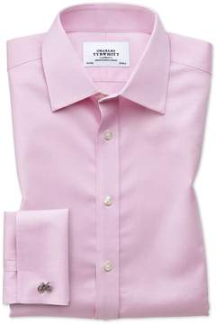 Charles Tyrwhitt Extra Slim Fit Non-Iron Puppytooth Light Pink Cotton Dress Shirt French Cuff Size 14.5/32