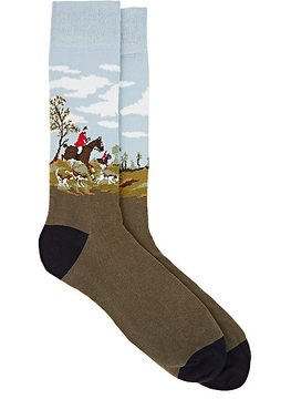 Corgi Men's Horse-Motif Cotton-Blend Mid-Calf Socks