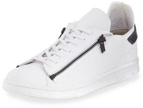 Y-3 Stan Zip-Side Leather Sneaker, White/Black