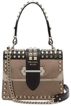 Prada Cahier Metallic Leather Studded Shoulder Bag - Womens - Silver