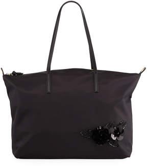 Neiman Marcus Addie Sequin Nylon Tote Bag with Shoulder Strap