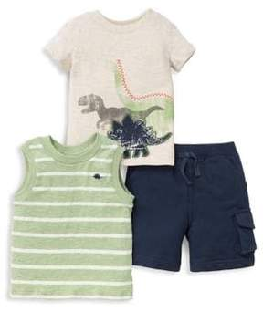 Little Me Little Boy's Three-Piece Dino Cotton Tank Top, Tee and Cargo Shorts Set