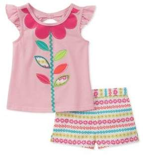 Kids Headquarters Little Girl's Floral Striped Tee and Short Set