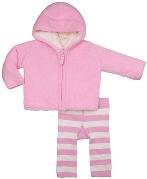 Cuddl Duds Furry Heart Faux Shearling Lined Hoodie & Striped Pants Set (Baby Girls)