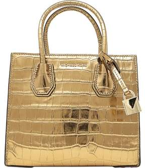 Michael Kors Women's Medium Mercer Crocodile Messenger Leather Top-Handle Bag - Gold - GOLD - STYLE