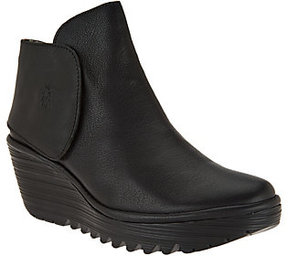 Fly London As Is Leather Wedge Boots - Yogi