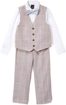 Sean John Cement Beige Windowpane Three-Piece Suit - Boys