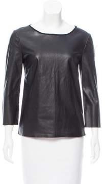 Ella Moss Faux Leather Long Sleeve Top