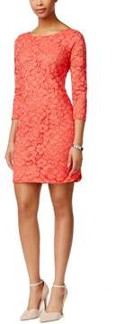 Vince Camuto Women's Three-Quarter Sleeve Lace Sheath Dress (4, Coral)