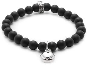 King Baby Studio Men's Silver Heart & 8MM Onyx Beaded Charm Bracelet