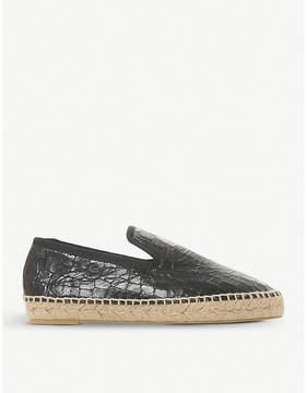 Dune Black Leiria crocodile-embossed leather espadrilles