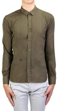 Christian Dior Men's Fly Embroidered Cotton Dress Shirt Olive Green