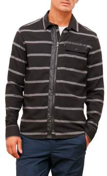 Kenneth Cole New York Reaction Kenneth Cole Long-Sleeve Striped Pleather Piece Shirt - Men's