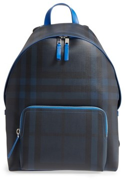 Burberry Men's Check Faux Leather Backpack - Blue