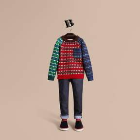 Burberry Colour Block Fair Isle Wool Cashmere Sweater